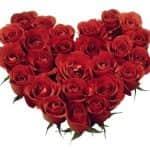 szív alakú rózsacsokor