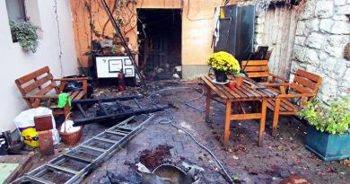 Kigyulladt egy melléképület, felrobbant a gázpalack