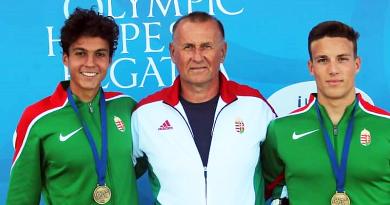 A Váci Kajak-Kenu SE párosának aranyérme az Olimpiai Reménységek Versenyén
