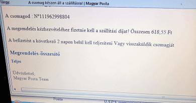 Internetes csalók még mindig küldözgetnek üzeneteket a Magyar Posta nevében